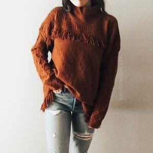 NWT Sonoma Burnt Orange Fringe Cowlneck Sweater XL